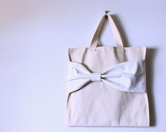 Market Tote with Bow - Pick your color - Environmentally friendly gift bag party favor - Reusable Washable - Simple Classic