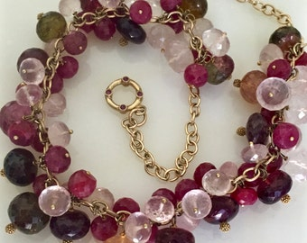 Tourmaline Ruby Statement Necklace, Ruby Rose Quartz Cluster Necklace