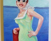 Anne at the dock. A vintage woman in cat eye sunglasses and swimsuit.
