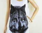Wolf T Shirt Fox Tshirt (Unisex T Shirt) Wolf Tank Top Wolf Shirt Fox Shirt  Screen Print Size M