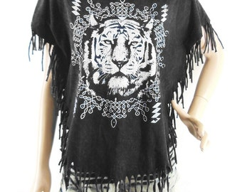 Tiger T Shirt Tiger Shirt Tiger Tee  Bat Sleeve Bleached Shirt Women Shirt Screen Print (Measurements - fits great from S - M)