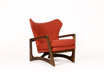 Mid Century Vintage Wingback Lounge Chair — Adrian Pearsall for Craft Associates — Walnut Frame — Red Textile
