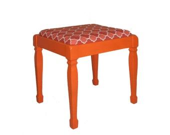 Refurbished Upholstered Wooden Stool Orange Red Geometric Print