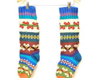 80s Handmade Patterned Multicolor Wool Stockings Socks Thick Warm