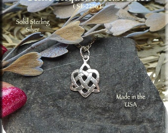 Sterling Silver Celtic Triquetra Heart Necklace or Bracelet Charm Celtic Jewelry SE-2256
