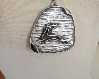 Vintage 60s Tortolani Necklace Mid Century Modernist Large Silver Pendant of Leaping Deer or Giselle