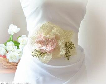 Burlap Wedding Sash - Burlap Bridal Sash - Burlap Flower Bridal Sash - Floral Wedding Sash - Flower Bridal Sash