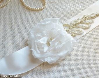 Floral Bridal Sash - Breaded Off White Bridal Sash - Floral Bridal Sash - Bridal Applique for Dress.