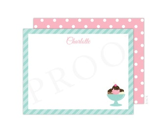 Ice Cream Note Cards (Flat Note Card, Ice Cream Thank You, Pink Ice Cream Party, Baby Shower Thank You, Ice Cream Notecard, Ice Cream Shop)