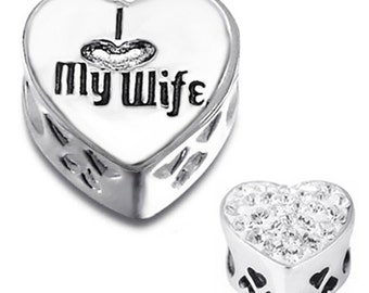 I LOVE MY WIFE Charm Bead 925 Sterling Silver Fits All European Charm Bracelets