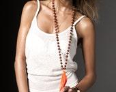 Valentines Day - Orange Wooden Beads Boho Necklace Bright OrangeTassel Mala Necklace Boho Beach Women Accessories Summer Necklace