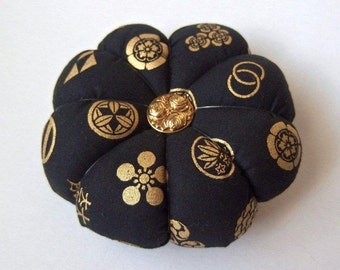 Pincushion Navy Blue & Black Japanese Fabric with Gold symbols. Great for a sewing gift -  Double Sided fabric with gold accents. pin holder