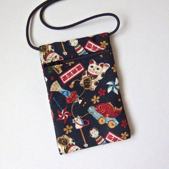 Pouch Zip Bag Navy Blue Japanese Cat Fabric Cell By Vinocatz