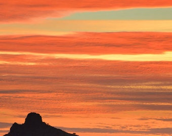 Southwest photography, Arizona photograph, nature print, landscape art, orange, sunset - Fire in the Sky