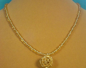 """Sparkling 18"""" Gold Beaded Ncklace with Pendant - N313-314"""