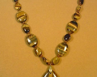 """Gorgeous GLOWING 20"""" Tiger Eye and Tiger Iron Necklace - N378"""