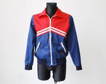 70s zipped two tone windbreaker jacket. mens sports jacket - medium