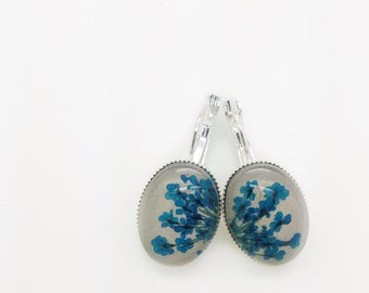 Nature jewelry pressed flower earrings,artisan jewelry,nature earrings blue earrings, handmade jewelry flower earrings, bridesmaid gift