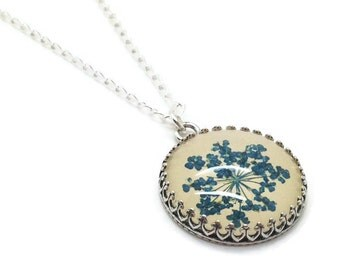 Silver flower necklace,  Pressed Flower, sterling silver, unique gifts, gifts for her, blue pendant, dried flower Jewelry, Something Blue