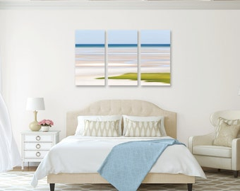 Nautical Decor 3 Three Panel Triptych Canvas Large Wall Art Abstract Beach Artwork Seascape Photo Cape Cod Photography Lime Green Blue Beige