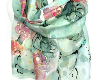 Roses Silk Scarf. Hand Painted Scarf. Fashion Shawl. Woman Birthday Gift. Handmade Anniversary Present Gift. 14x71in (35x180cm) Ready2Ship