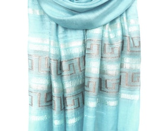 Sky Blue Celeste Scarf. Viscose Scarf. Metallic Shawl. Sparkle Scarf. Meander Design. Greek Lines Scarf. 20x70in (50x180cm) Ready2Ship