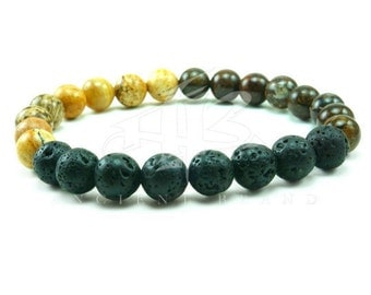 "Men's ""Azibo"" Bronzite Jasper Beaded Bracelet"