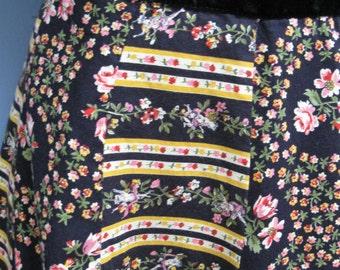 Vintage 1970's Patchwork Skirt Black Yellow Floral Wrap Skirt Festival Skirt Mr. Hank