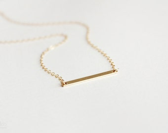 gold filled bar necklace - layering, minimalist, dainty, 14kt gold filled jewelry / gift for her