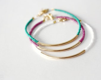 gold bar bracelets - minimalist jewelry - friendship bracelets WHITE, EMERALD, BERRY