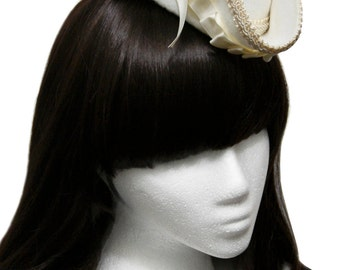 Beautiful White and Ivory Wedding Mini Tricorn Pirate Hat - Made to Order
