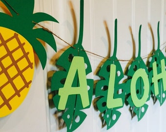 Aloha banner, pineapple party, decoration party, garland, Hawaii, green, yellow, brown