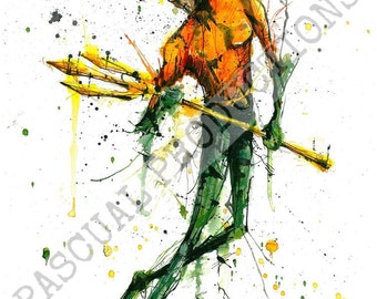 Aquaman Superhero DC Comic Watercolor Painting Print Aquaman