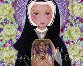 Saint Mary Faustina Kowalska Print of Art Mixed Media  Folk Art  Wall Decore by Evona Christian Painting