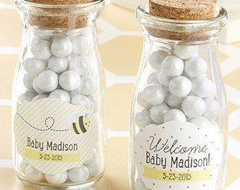 Candy Jars (Set of 48), Personalized Candy Jar Favors, Baby Shower Favors, Bee Theme Decoration