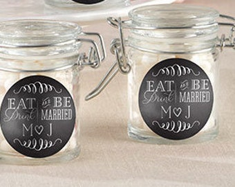 Glass Favor Jars - Eat, Drink & Be Married (Set of 24) Peraonalization Available- Personalized Wedding Favors, Bridal Shower Favors