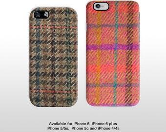 Classic tweed fabric print iPhone 6 6 plus phone case. Hard plastic iPhone 4 5 phone cover FP093