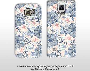 Retro bird and flower drawing phone case. Floral shabby chic mothers day gift for samsung s6 S7 edge s5 s4 s3 note 5 FP090