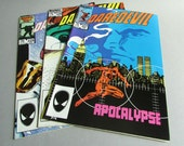 Set of 3 Vintage Daredevil Comic Books, No. 227 Apocalyse, No. 228 Purgatory, No. 229 Pariah, February, March, and April 1986, Marvel Comics