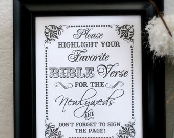 Please Sign Our Bible Guest Book- Wedding Sign - Alternative Guest Book- Single Sheet (Style: GUEST BIBLE)