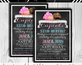 Cupcake or Stud Muffin Gender Reveal Baby Shower Invitation  #142