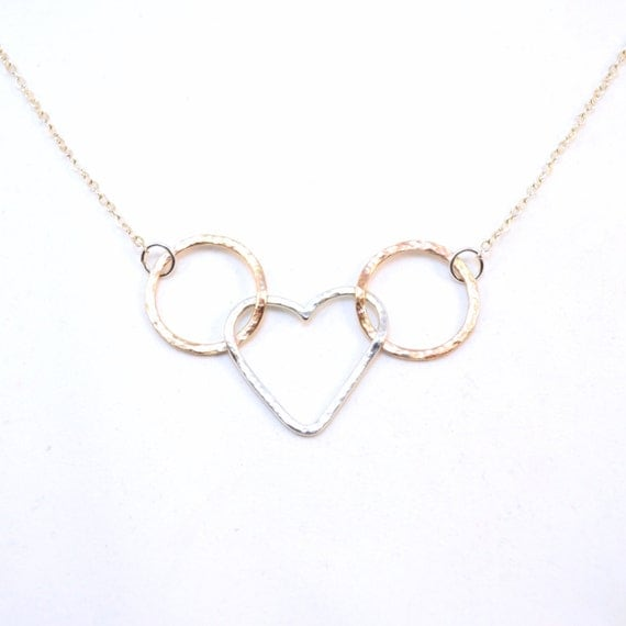 Interlocking Heart + Circle Necklace - Mother Daughter Jewelry - Infinite Love