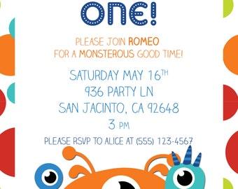 Polka Dot Monsters Birthday Invitation