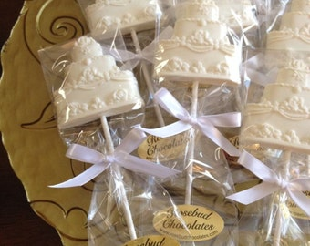 12 Chocolate Wedding Cake Lollipops Bridal Shower Favors Quinceanera Candy Anniversary Party