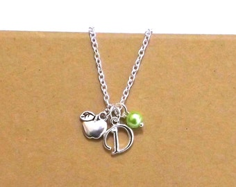 Gift for Teacher, Apple Necklace, Apple Jewellery, Thank You Teacher Gift, Apple Jewelry, Personalised Charm Necklace, Apple Charms