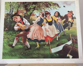 REDUCED Vintage 1960s Educational School Print - The Golden Goose by E. R. Boyce