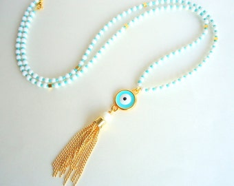 Evil eye necklace, Protection necklace, Tassel necklace, Chain Tassel necklace, spring trends 2018, aqua blue necklace, gold necklace