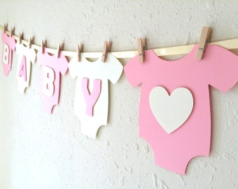 "Baby One-Piece Bodysuit ""BABY GIRL"" Baby Shower Banner: Pink and White Baby Shower Decoration"