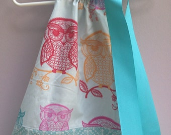 Size 6/12m.....Owl Pillowcase Dress...Made and ready to be shipped!