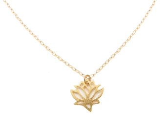 Gold Lotus Necklace - Lotus Flower Necklace - Gold Lotus Pendant Necklace - Layering Necklace